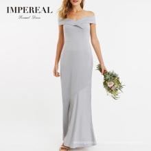 Grey Off The Shoulder China Formal Mermaid Bridesmaid Dress