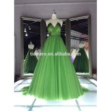 Newest deep v-neck green color elegant cocktail evening dresses pattern/factory direct real party evening dress