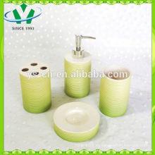 4 PCS Stripe hotel accesorios de baño de cerámica con rociador de placas