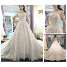 Elegant New Robe de Mariage 2016 Pearls Beaded Scoop Neck 3D Flower Long Sleeve Royal Train Lace Ball Gown Wedding Dresses A301