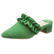 Customized New Trendy Ruffled Design Pointed Women's Sandal Slippers