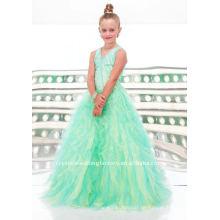 Прекрасный бисером V-образным вырезом раффлед органзы на заказ pageant платье девушки цветка платья CWFaf3356