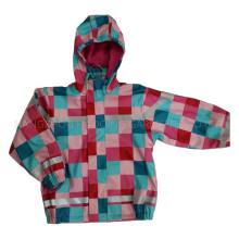 Красочные капюшоном проверки Пу куртка/плащи