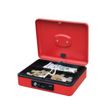 Best quality Portable  metal  round handle Cashier Metal Cash Box  cash saver box with spring lock