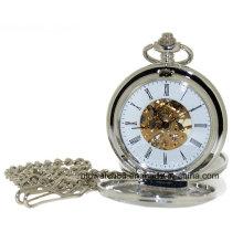 Silver Tone Plain Skeleton Hand Wind Doble Hunter Reloj de bolsillo