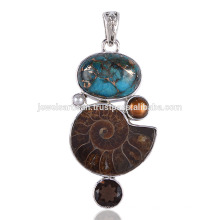 Blue Copper Turquoise Pearl Ammonite 925 Sterling Silver Pendant