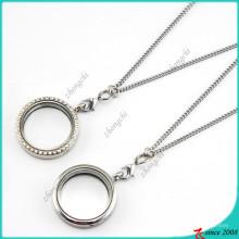 Venda quente de prata rodada flutuante encantos medalhão (fl16040824)