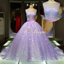 Slight See-through high little seguidor de lantejoulas vestidos de noiva roxos e brancos / vestido de bola