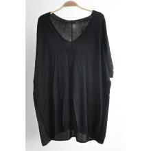 Manga corta de color negro palangrero suéter de punto para las damas