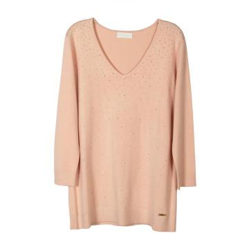 Suéter feminino de algodão meio cardigan com ponto profundo com decote em V