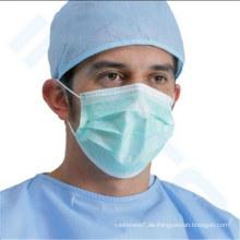 Einweg-Vlies 3ply Staub chirurgische Gesichtsmaske mit Ohrbügel oder Tie-on