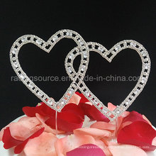 Wedding Cake Topper with Vintage Double Hearts Covered in Rhinestone Crystals Cake Decoration