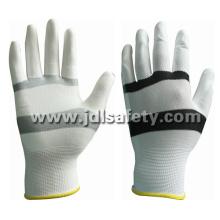 Luva de Nylon branco/preto com Palm PU revestido (PN8114)