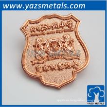 insignias del metal del chapado en oro de la rosa de encargo