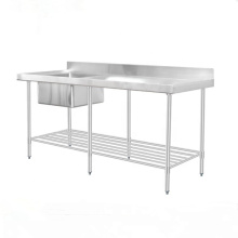 Stainless Steel Commercial Double / Single Bowl Sink Work Bench / Kitchen Working Table