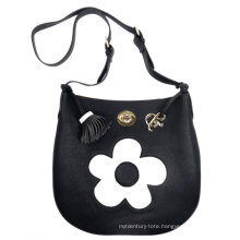 White & Black Mini PU Leather Shoulder Satchel Bag