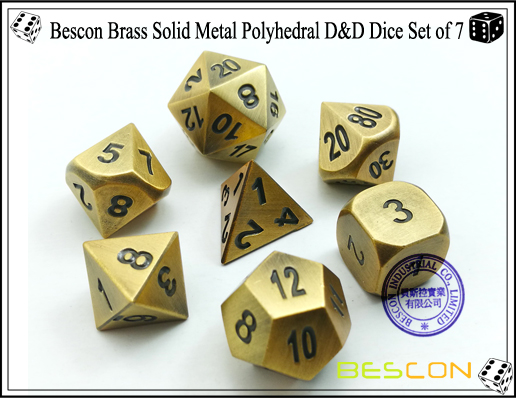 Bescon Brass Solid Metal Polyhedral D&D Dice Set of 7-2