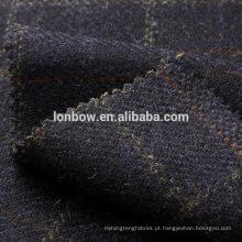 Tecido de overcheck tweed navy lã Donegal, material ideal para casacos e ternos.