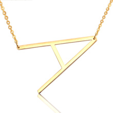 Hot 26 English Alphabet Initial Letter A-Z Name Pendant Stainless Steel Choker Necklace