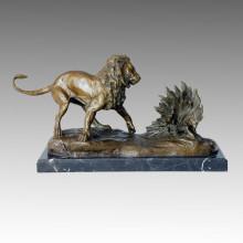 Tier Statue Löwe & Stachelschwein Bronze Skulptur, Milo Tpal-112