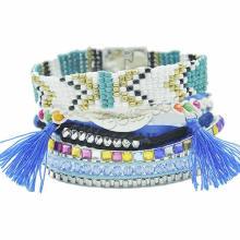Gets.com 2015 Мода бразильский браслет скайп голубой семян бусы кисточкой браслет