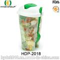 Copo plástico do abanador da salada da vária cor com forquilha (HDP-2018)