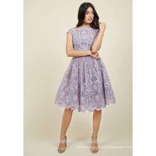 Wholesale Elegant Evening Party Gowns Appliqued Lace Short Lilac Bridesmaid Dresses MB2589