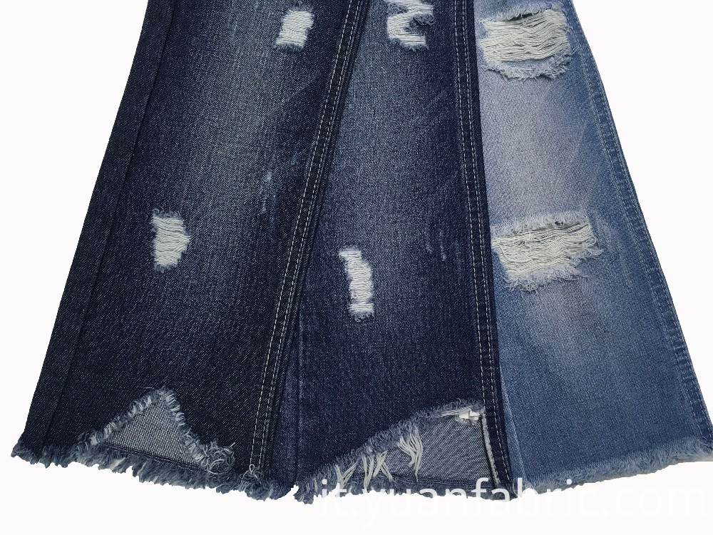 Ripped Design Stone Wash 350gsm Denim Fabric Tc Yarn Count China Manufacturer