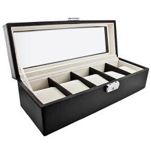 Caixa de relógio de couro clássico cinco armazenamento (hx-a0758)