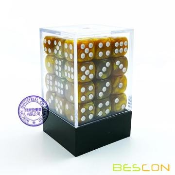 Bescon 12mm 6 Sided Dice 36 in Brick Box, 12mm Six Sided Die (36) Block of Dice, Marble Golden