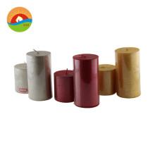 Private label decorative paraffin custom pillar flameless luxury scented pillar candle