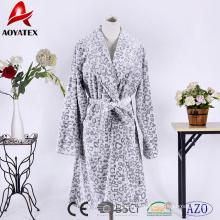 100% polyester bottom print animal cut coral fleece women bathrobe