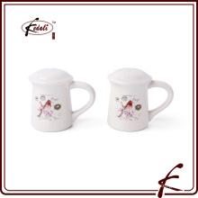 Подгонянные логос оптовой белой керамической соли и набора перца shaker