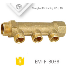 EM-F-B038 Thread brass 3-way manifold pipe