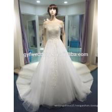 Wedding dress 2017 new bride married Korean luxury word long shoulder tail Slim thin wedding dress LJ-10051