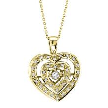 18k Gold doppelte Herz-Tanzen-Diamant-Anhänger-Schmucksachen