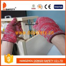 Guantes de punto con cordón de algodón mixto rojo y gris calibre 7 Dck512