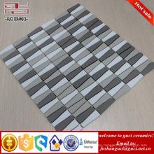 proveedor chino tira superficie helada mezclada mosaico de vidrio cristalino para el diseño de la pared de la casa