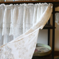 Weiße Baumwolle Kaffee Vorhang Stickerei Kurzer Vorhang
