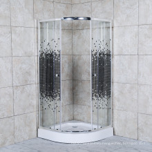Bathroom Square Tempered Glass Doors Shower Enclosure with Sliding Rollers