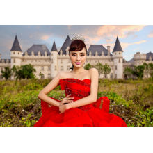 Red Beading Ballgown Bridal Evening Gown Evening Dresses (TJBLCT019)