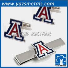 Carta A corbatas y mancuernas, hecho a medida clip de corbata de metal con diseño