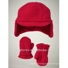 fleece cap and mittens set for kids
