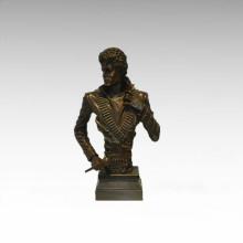 Büsten Messing Statue Michael Jackson Dekor Bronze Skulptur Tpy-899