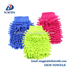 2018 New Product Factory fabricante de microfibra de chenille lavagem de carro luva Rosa