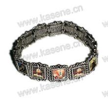 Holy Mixed Saint Images Sharp Metal Rosary Bracelet