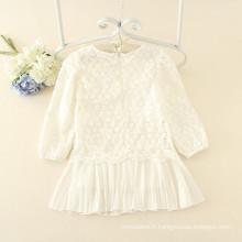 Blanc manches longues en dentelle imprimé pour les enfants automne simple style casual robes enfants doux bonne qualité en gros prix