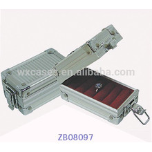 New design metal jewelry box with ABS panel and ring rolls inside