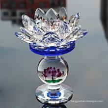 Crystal Glass Lotus Candle Holder para decoração de casamento em casa