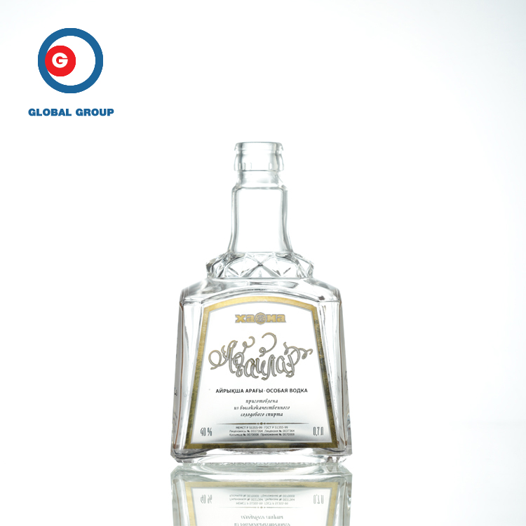 Narrow Mouth Screen Printing Square Glass Bottle